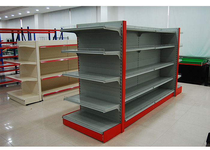 Single Sided Metal Store Shelving , Supermarket Display Fixtures With Fence