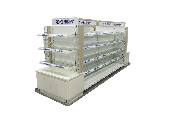 Double Side Grocery Store Display Racks , Metal Storage Shelves For Cosmetic