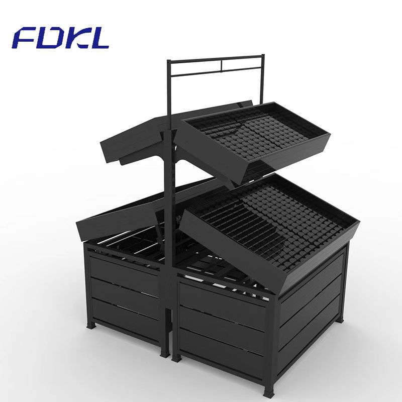 Black Color Fruit And Vegetable Rack Corrosion Protection For Supermarket
