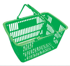 Double Handle Supermarket Shopping Basket Unfoldable Style HDPP / HDPE Material