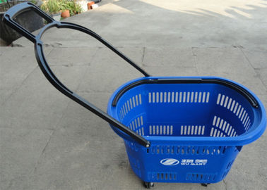China Plastic Supermarket Shopping Basket With Wheel And Handle Multi Color factory