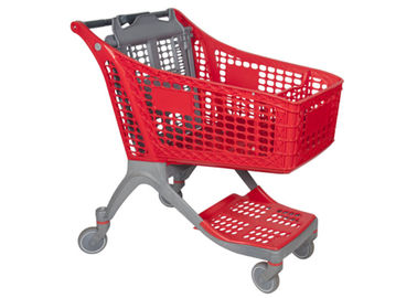 Red Color Supermarket Shopping Trolley 60-240L Loading Capacity Easy To Move
