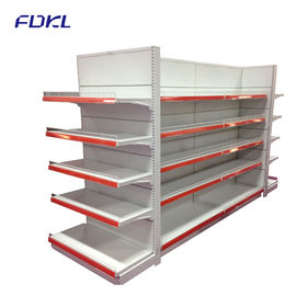 China Modular Supermarket Metal Shelves With Round Hole Pegboard Panel / Plain Panel factory