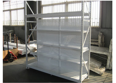 China Multi Function White Metal Shelf , Sub Heavy Duty Shop Display Shelves factory