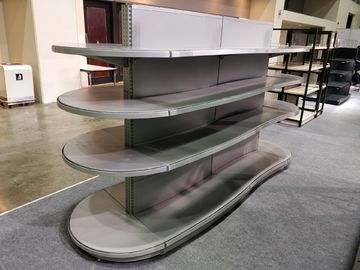 Durable Supermarket Gondola Shelving ISO Certification Pitch 25 Curved