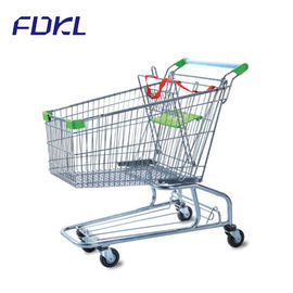 China Unfolding Steel Shopping Trolley , Wire Shopping Cart With Wheels factory