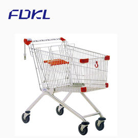 Custom Logo Supermarket Shopping Trolley Steel Tube And Wire Material
