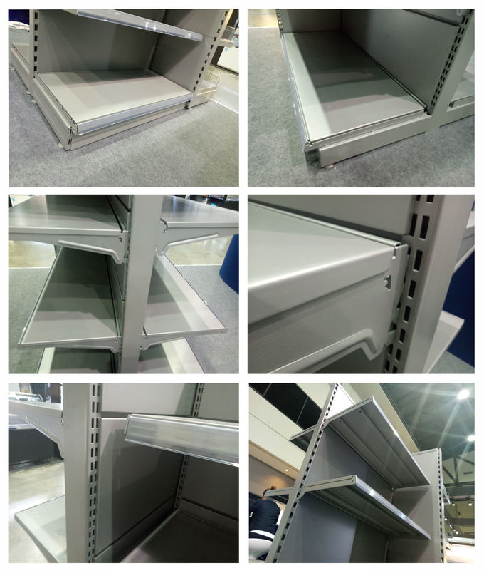 Powder Coating Supermarket Display Shelving Anti Corrosion Easy To Install